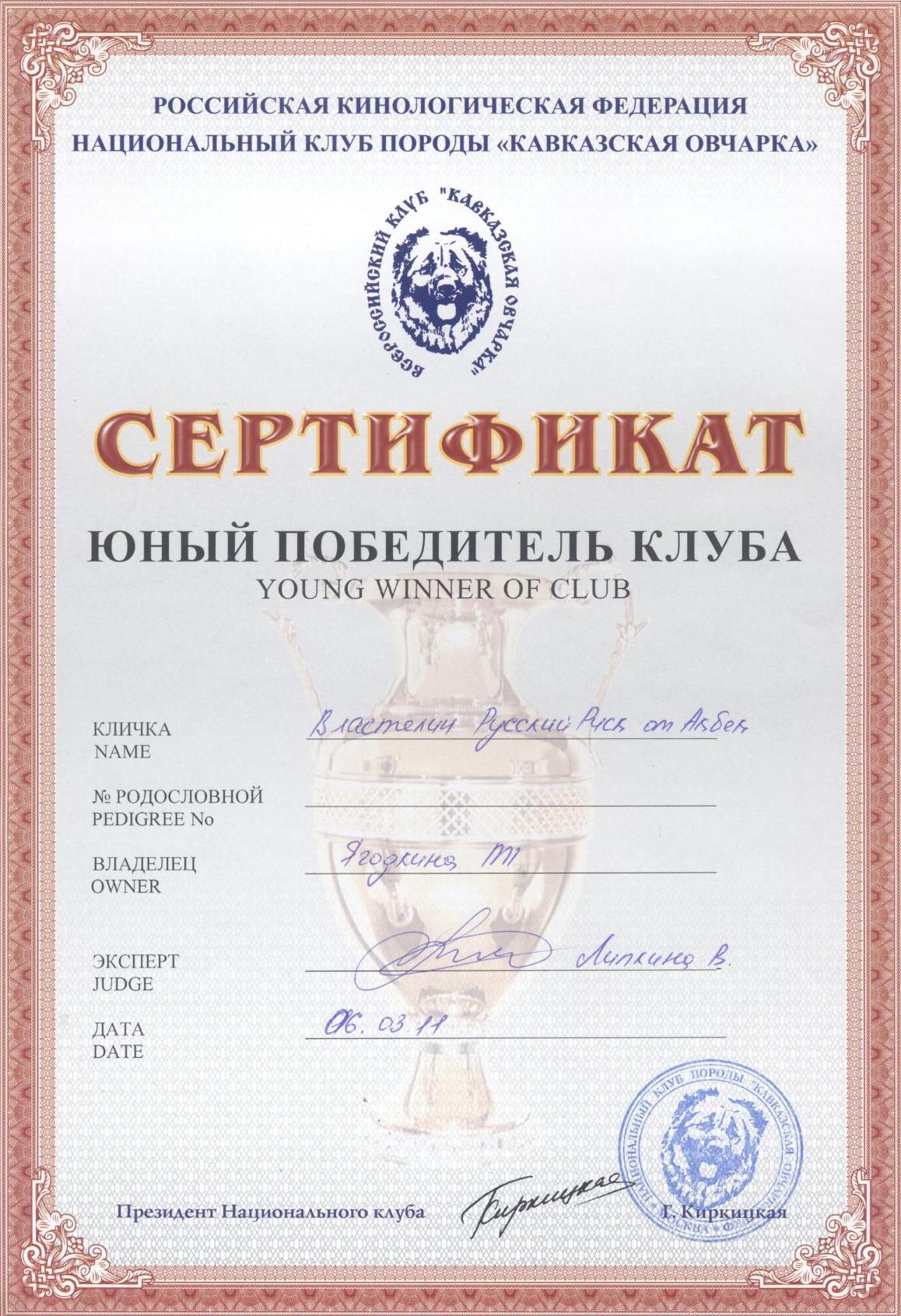 кавказская овчарка, кобель Властелин Русский Риск от Акбек - Победитель клуба НКП